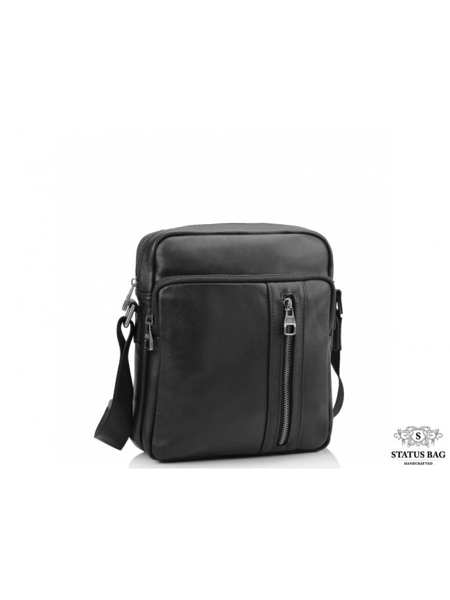 Сумка через плечо мужская кожаная черная Tiding Bag 9836A