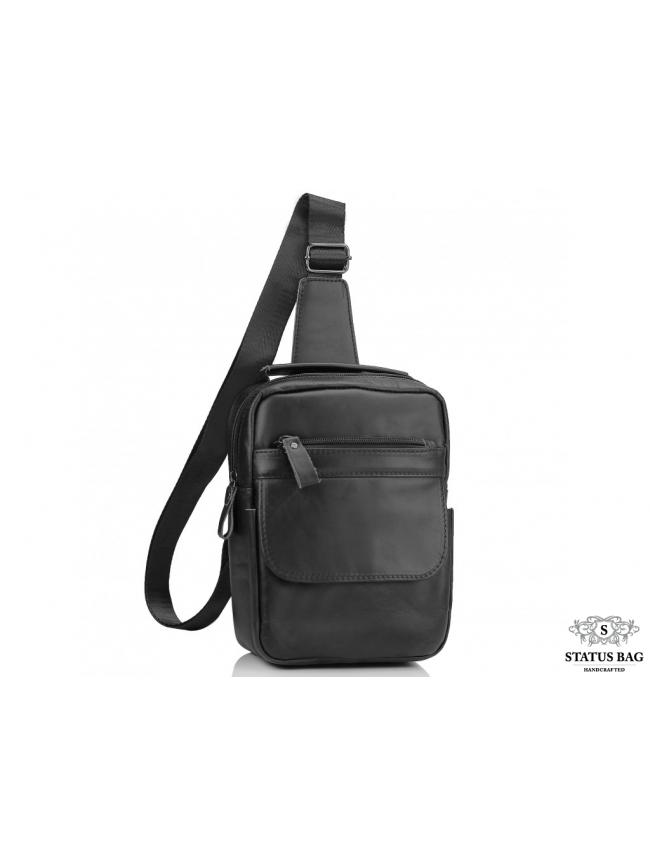 Мужская сумка-слинг через плечо гладкая кожа темный шоколад Tiding Bag A25F-003DB