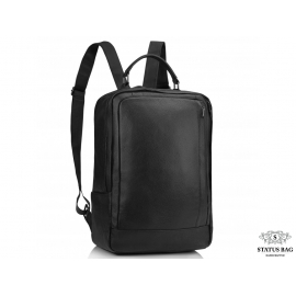 Мужской кожаный рюкзак для ноутбука черный Tiding Bag A25F-8834A