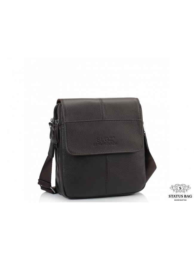 Мужской кожаный мессенджер с клапаном коричневый Tiding Bag A25F-B065B