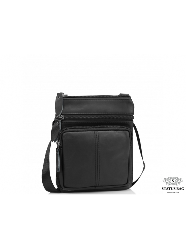 Мужская кожаная сумка через плечо черная маленькая Tiding Bag Bx124A