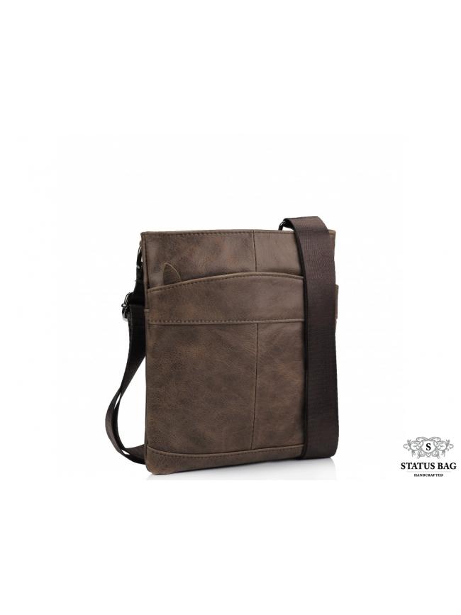 Мужская кожаная сумка через плечо коричневая Tiding Bag M35-703B
