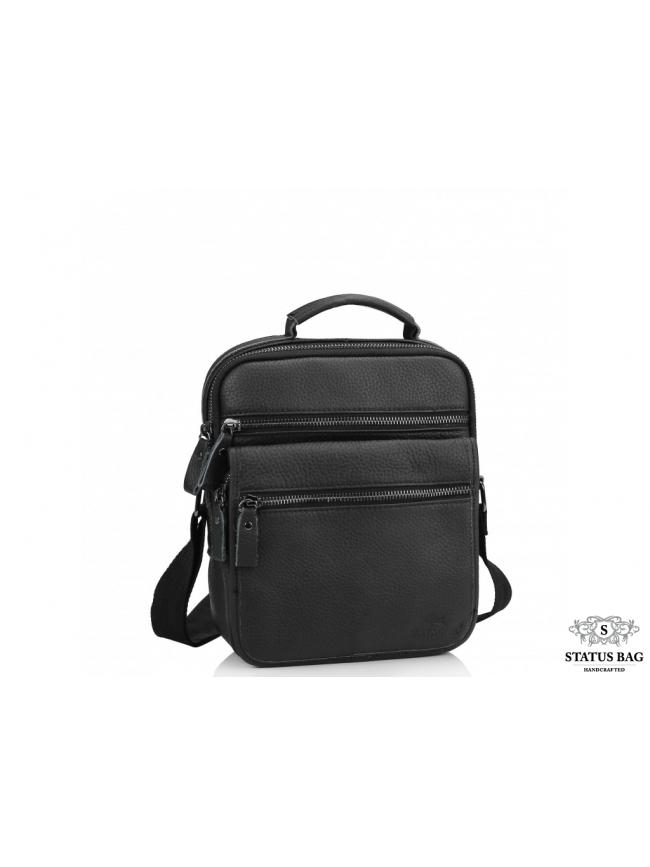 Мужская кожаная сумка-барсетка на плечо черная Tiding Bag M35-8852A