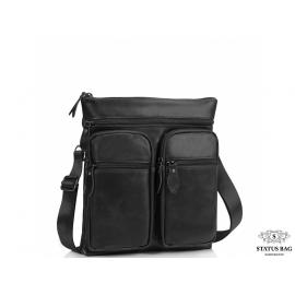 Сумка через плечо мужская черная Tiding Bag M35-9012A