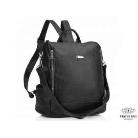 Женский кожаный городской рюкзак черный Olivia Leather NWBP27-8845A