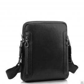 Мужская кожаная сумка через плечо черная Tiding Bag SM8-1007A