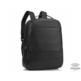 Мужской кожаный рюкзак для ноутбука черный Tiding Bag SM8-183A