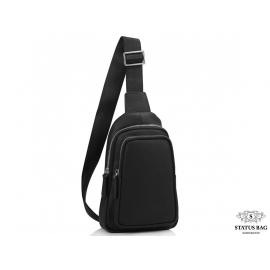 Мужская сумка-слинг через плечо черная натуральная кожа Tiding Bag SM8-356A