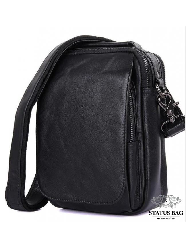Сумка-барсетка мужская кожаная через плечо Tiding Bag 1012A
