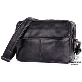 Стильная мужская кожаная сумка через плечо черная Tiding Bag 1026A