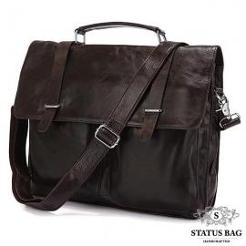 Сумка-портфель мужская кожаная серая Tiding Bag 6057J