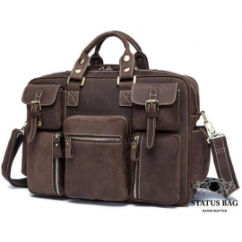 Дорожная кожаная сумка прочная тревел бег коричневая Tiding Bag 7028B