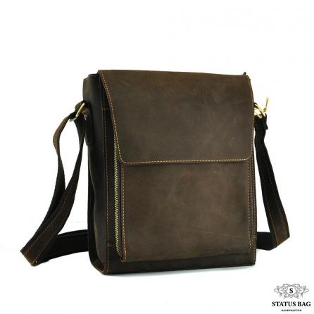 Мужская сумка-мессенджер через плечо из матовой винтажной кожи Tiding Bag 7055DB