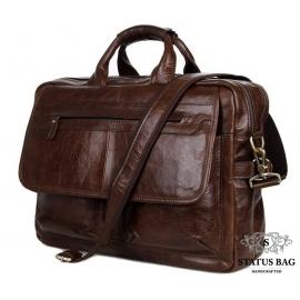Вместительная мужская кожаная сумка под ноутбук Tiding Bag 7085C