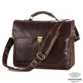 Мужской кожаный портфель с клапаном коричневый Tiding Bag 7091C