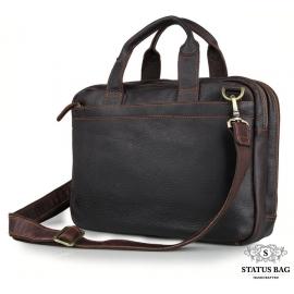 Стильная деловая мужская кожаная сумка для ноутбука и документов Tiding Bag 7092Q