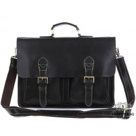Классический мужской кожаный портфель черный Tiding Bag 7105A