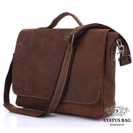 Сумка мужская кожаная через плечо для ноутбука Tiding Bag 7108R-1