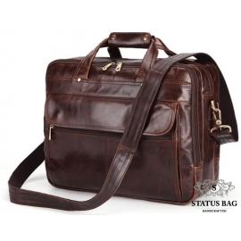 Кожаная сумка-портфель вместительная дорожная Jasper&Maine 7146C