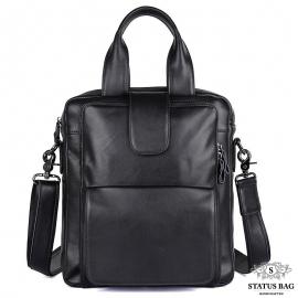 Вертикальная мужская сумка через плечо кожаная  Tiding Bag 7266A
