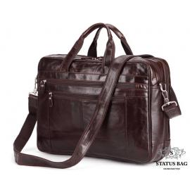 Мужская кожаная сумка для поездок диагональ ноута 17 дюймов Jasper&Maine 7319C