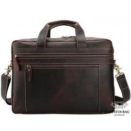 Вместительная мужская кожаная сумка с отделом для ноутбука 17 Tiding Bag 7319R