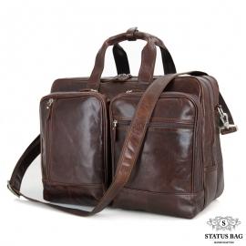 Мужская дорожная деловая кожаная сумка с карманами Tiding Bag 7343C