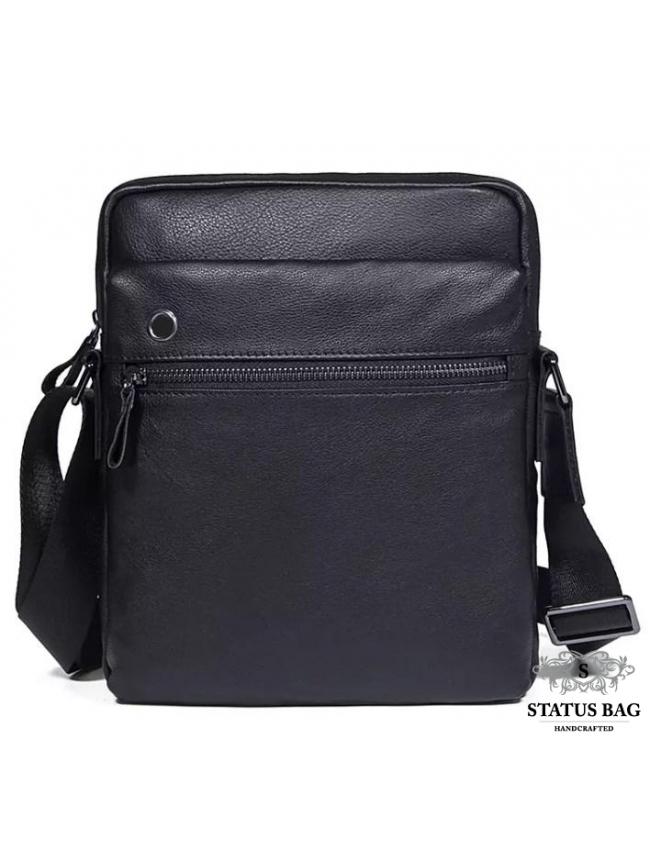 Сукма мужская кожаная через плечо черная Tiding Bag 8716A