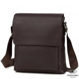 Сумка через плечо мужская кожаная коричневая Tiding Bag A25-1278C