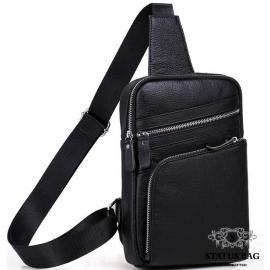 Сумка-рюкзак мужская на одно плечо из натуральной кожи слинг Tiding Bag A25-6896A