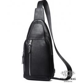 Мужская нагрудная сумка-слинг через плечо кожаная Tiding Bag B3-1701A