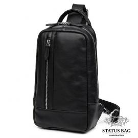 Вместительная сумка-рюкзак через плечо мужская на грудь наутральная кожа Tiding Bag B3-1725A