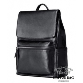 Мужской черный кожаный рюкзак Tiding Bag B3-2015-14A