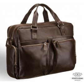 Деловая вместительная сумка для ноутбука и путешествий натуральная кожа Blamont Bn002C