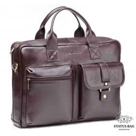 Деловая мужская сумка для документов из натуральной кожи коричневая Blamont Bn058C