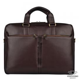 Классическая кожаная сумка для делового мужчины коричневая Blamont Bn067C