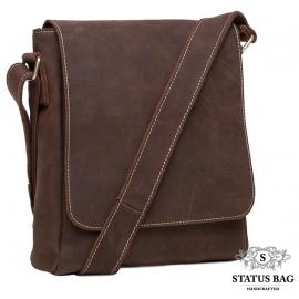Мужская сумка через плечо из натуральной  кожи  коричневая Tiding Bag G1157DB