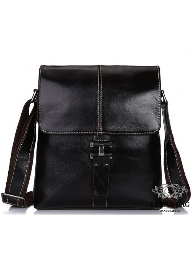 Мужская сумка через плечо из натуральной кожи глянцевая Bexhill L3356