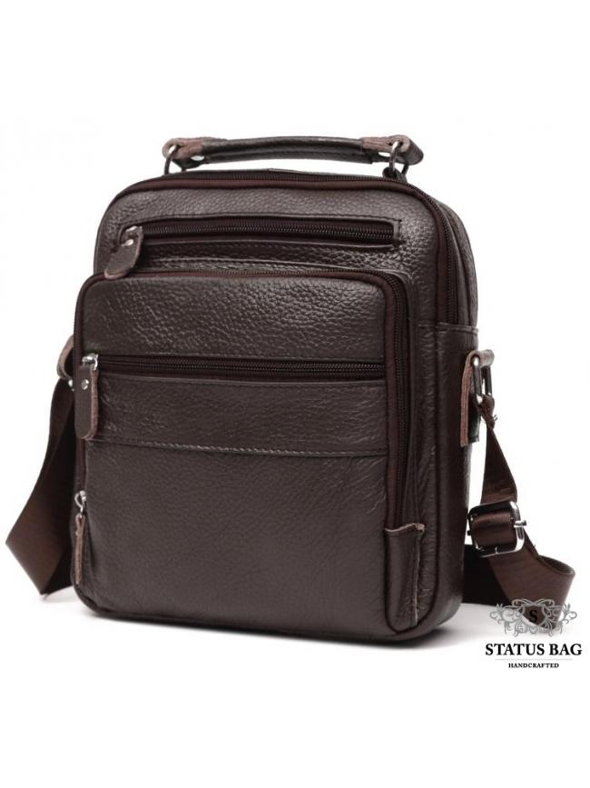Мужской кожаный мессенджер через плечо коричневый Tiding Bag M38-5112C