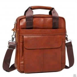 Мужская кожаная сумка через плечо рыжая Tiding Bag M38-8861LB