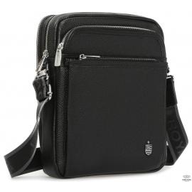 Элитная кожаная мужская сумка через плечо черная Royal Bag RB-008A