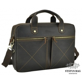 Мужская сумка на 2 отдела для ноутбука темно-коричневая Royal Bag RB012R