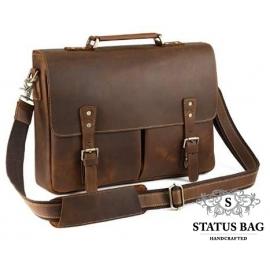 Прочный мужской кожаный портфель с отделом для ноутбука TIDING BAG t0016