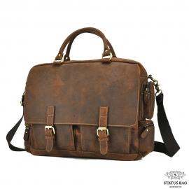 Вместительная мужская кожаная сумка для ноутбука Tiding Bag t0017