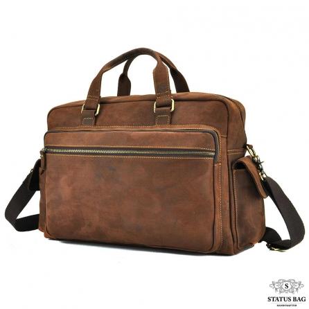Мужская дорожная сумка из натуральной кожи с отделом для ноутбука Tiding Bag t0018