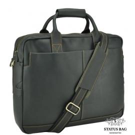 Мужская кожаная сумка-портфель для ноутбука воловья Tiding Bag t1019RA