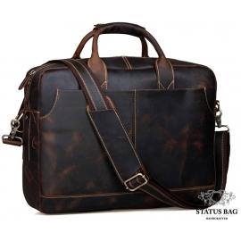 Стильная мужская сумка-портфель для документов из винтажной кожи Tiding Bag t1019