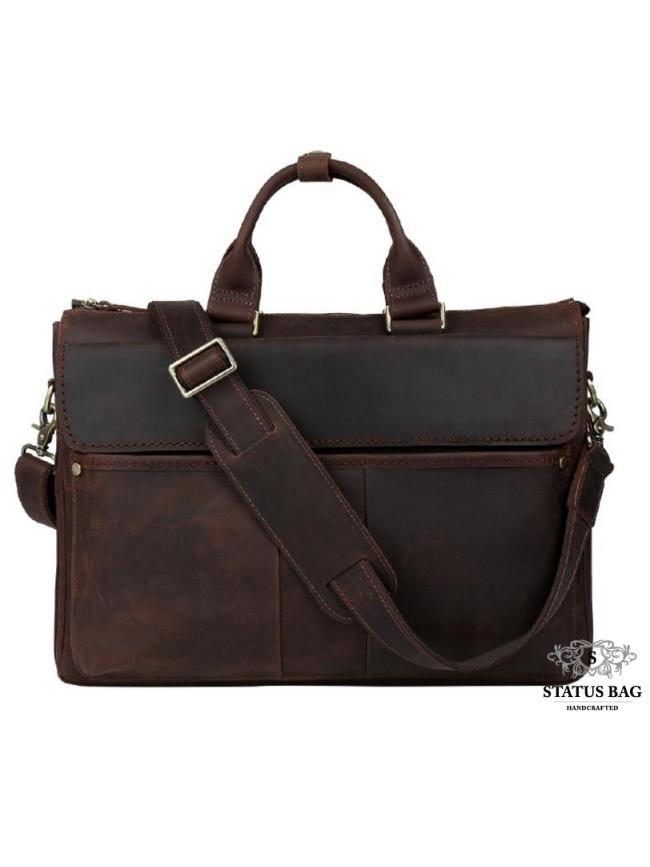 Сумка-портфель для ноутбука мужская кожаная 17 дюймов Tiding Bag t1096