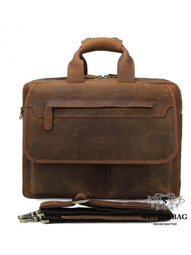 Вместительная мужская сумка-портфель винтажная кожа Tiding Bag t29523